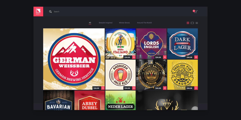Beer labels on website