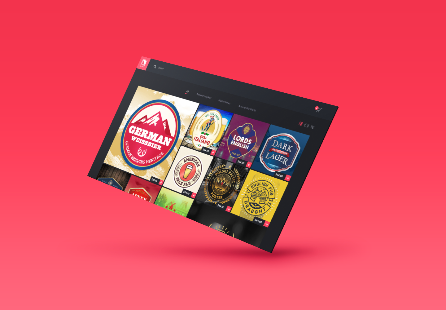 Floating browser window with beer labels